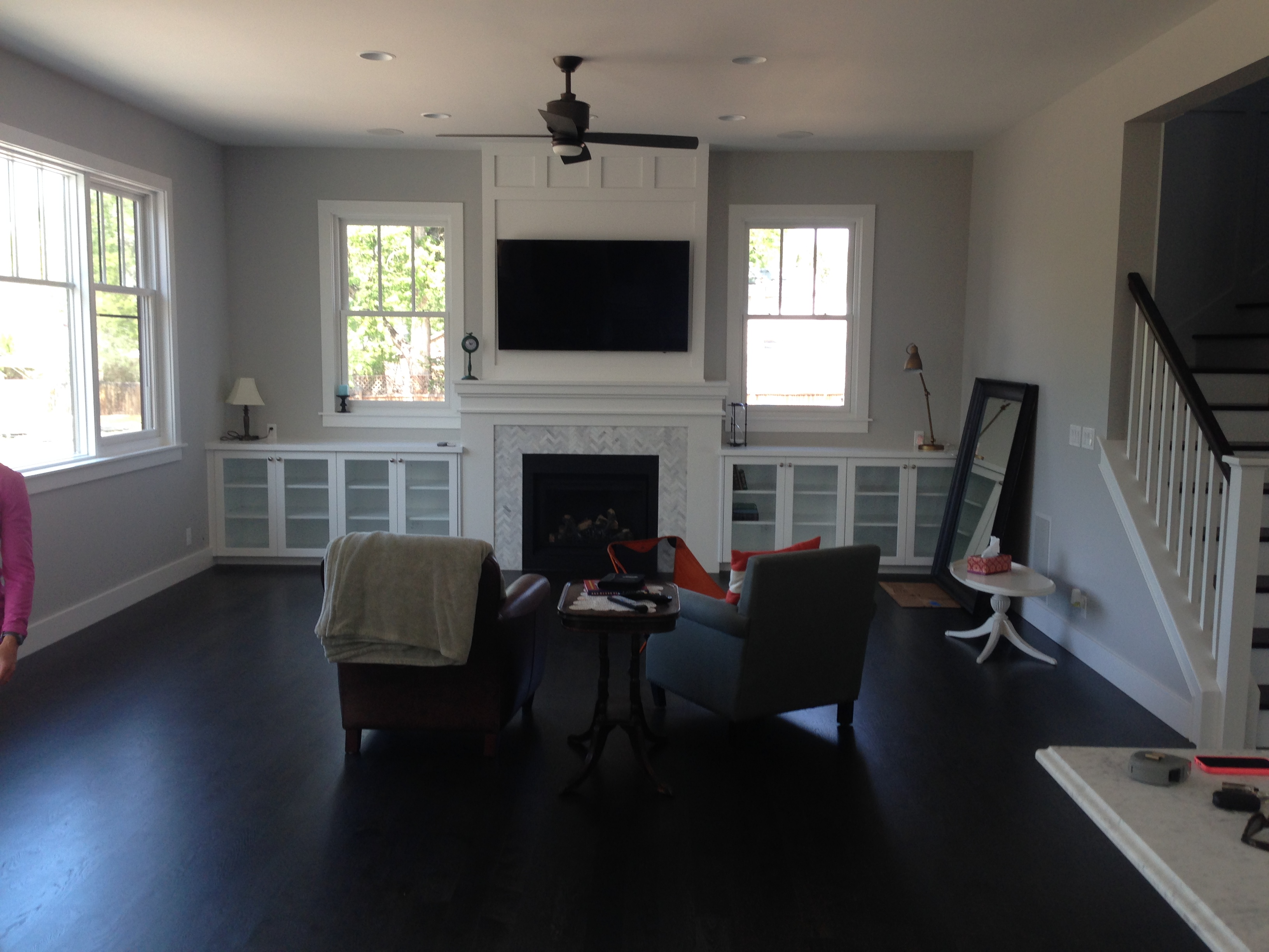 boise new home, Boise new construction, Ogata Construction, craftsman fireplace, dark wood floors